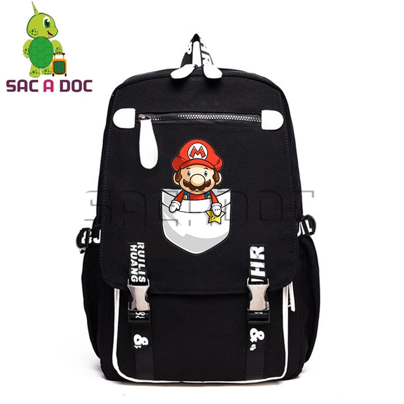 Cartoon Bags Super Mario Canvas Backpack Women Men Laptop Bag Funny Mario Luigi School Backpacks for Teenagers Girls BookbagsCartoon Bags Super Mario Canvas Backpack Women Men Laptop Bag Funny Mario Luigi School Backpacks for Teenagers Girls Bookbags