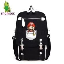 ceb99875dad6 Cartoon Pocket Super Mario Canvas Backpack Women Men Laptop Bag Funny Mario  Luigi School Backpacks for