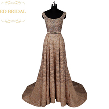 A Line Gold Beaded Backless Luxury Couture Evening Dress with Allover Beading Women Special Occasion Formal Gown robe de soiree