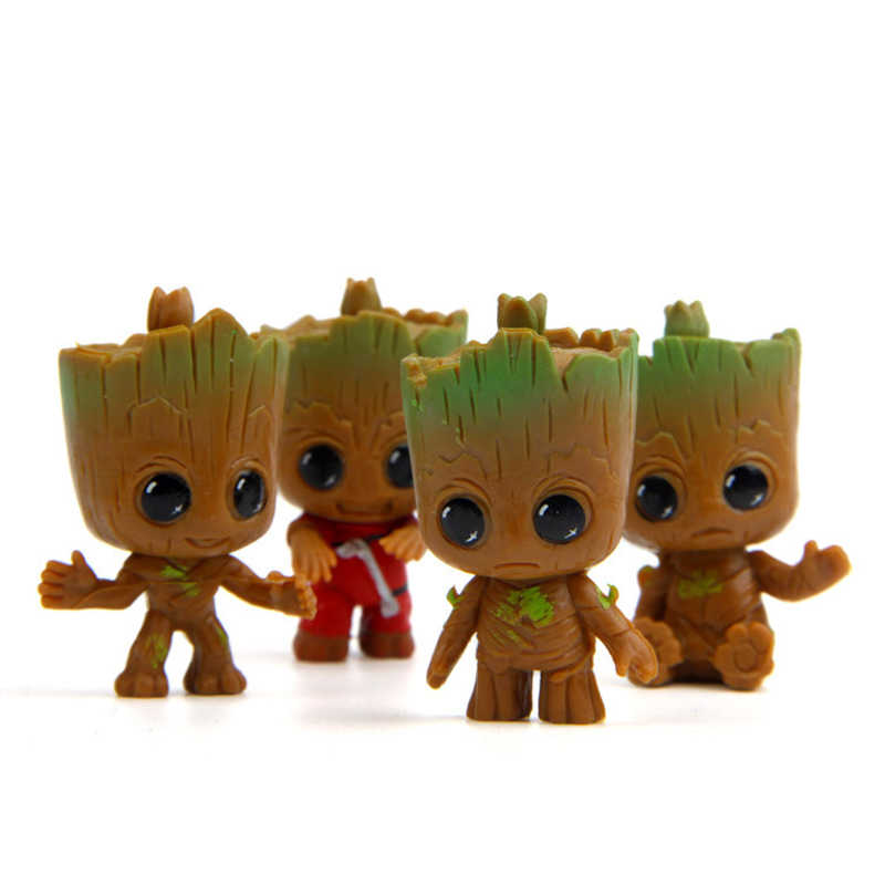 4pcs/lot Galaxy Guard Q Tree Man Model PVC Figure Action Toy For Lovely Gift 5cm