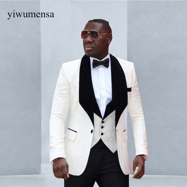 yiwumensa Brand Groomsmen (Jacket+Pants+Vest) Shawl Lapel Groom ...