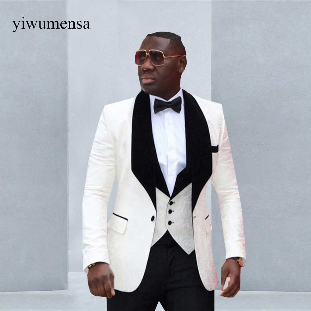 0205b9d80d yiwumensa Brand Groomsmen (Jacket+Pants+Vest) Shawl Lapel Groom Tuxedos Red/
