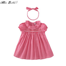 Baby Girls Clothing Sets 2018 Summer Fashion Red Plaid Suit Kids 2pcs Clothes To