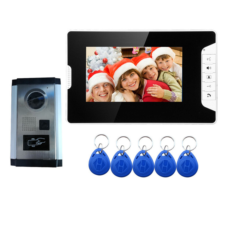 7 inch Color LCD Wired Video Door Phone Intercom System With 1 White Monitor 1 RFID Card Reader HD Doorphone Camera Night Vision
