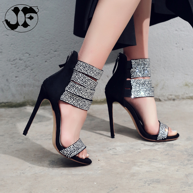 78d1c5fa2 Women Pumps Bling Bling Silver Rhinestone Gladiator Sandals Ankle Wrap  Crystal High Heel Sandals Party Dress Shoes Size 43