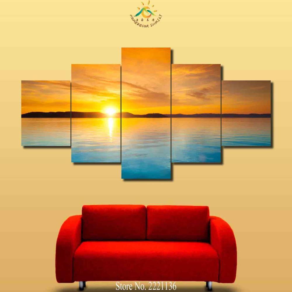 3 4 5 Pieces Blue Ocean Golden Sky Modern Wall Art Canvas Printed ...