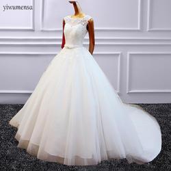 Yiwumensa vestidos de noiva Кружева Линия торжественное платье 2018 Принцесса Кружева Аппликации Свадебные рукавов Sheer Тюль торжественное платье