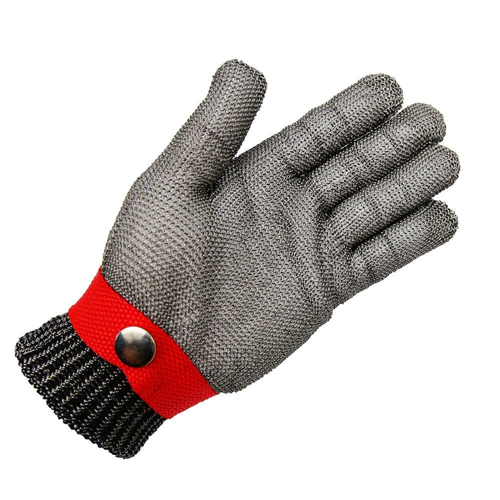 Safety Glove With Buckle Cut Proof Stab Resistant Kitchen Working Red Glove Stainless Steel Metal Mesh Butcher Cutting Size M