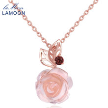 LAMOON Rose Flower 925 Sterling Silver Chain Necklace&Pendent For Women 100% Natural Gemstone Rose Quartz Fine Jewelry LMNI025