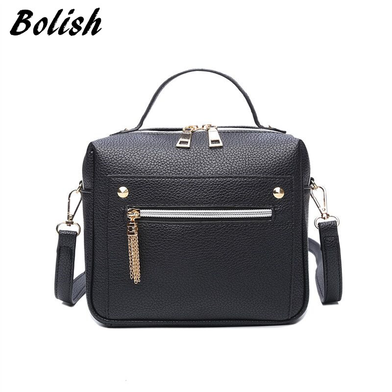 Bolish High Quality PU Leather Women Top-handle Bag Small Women Messenger Bag Girls Shoulder Bag Fashion Women Bags