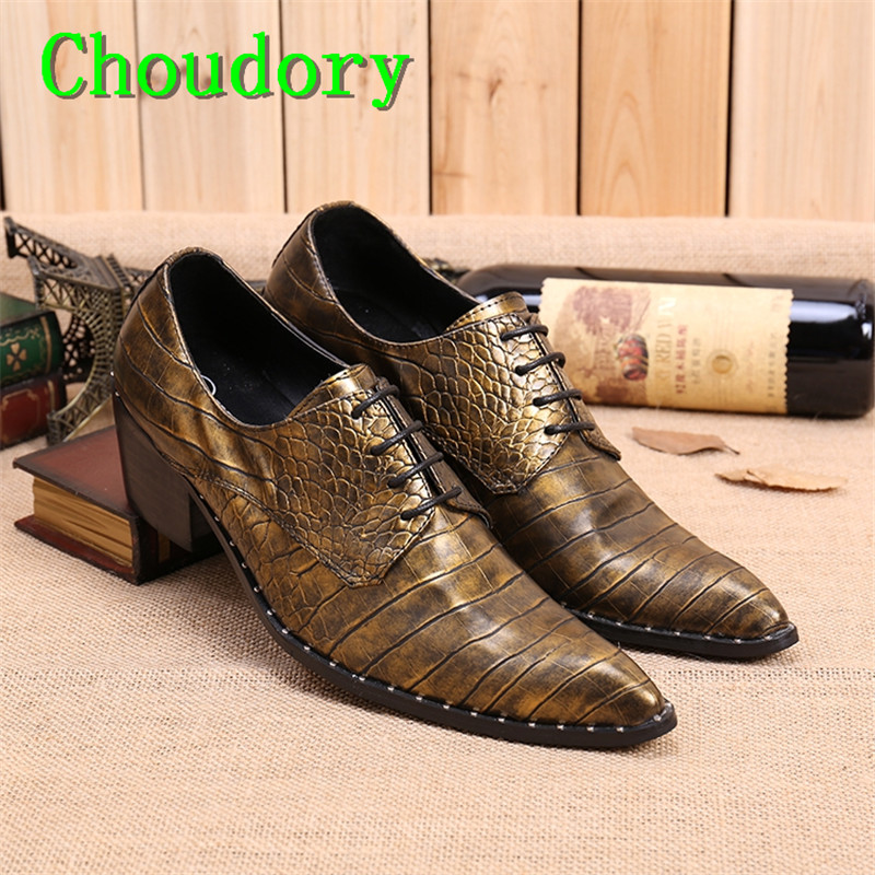 Choudory Height Increasing Gold Pointed Toe High Heels Men Casual Shoes Mens Trainers Embossing Sewing Genuine Leather Men Shoes