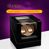New Wood Watch Winder For 2 Watches Black Piano Paint Automantic Self Watch Winders Wooden And PU Leather Watch Accessories