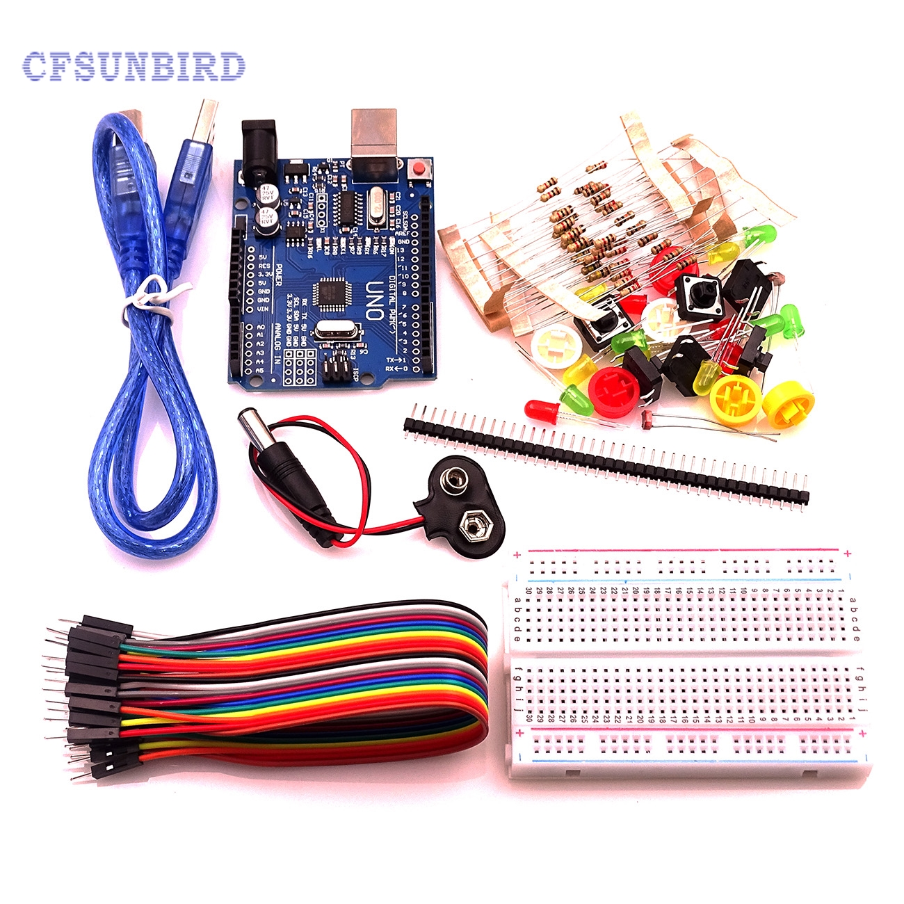 1 Set new Starter Kit UNO R3 mini Breadboard LED jumper wire button for Arduin compatile frree shipping top selling high qualiy uno r3 starter kit 1602 lcd dot matrix breadboard led resistor hot selling
