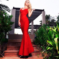 Women Red Floor Length Long Dress Elegant Trumpet Mermaid Vestidos De Fiesta Ladies Slim Bodysuit Sexy