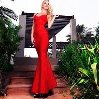 HAGEOFLY Donne Dress To The Floor Rosso Elegante Mermaid Abiti Abiti Spaghetti Strap Fasciatura Del Vestito delle Donne di Estate Sarafan