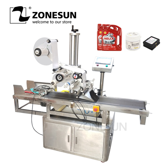 ZONESUN Automatic High Speed Flat Square Bottle Bag Adhesive Tape Packing Labeling Machine