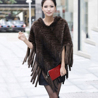 100% genuine real knitted mink fur shawl poncho with hoody and tassels women weeding party fashion warm cape wraps free shipping