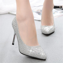New women High Heeled shoes pumps handmade female Rhinestone wedding Dress shoes sexy Nude Pumps women's high heels Bridal shoes