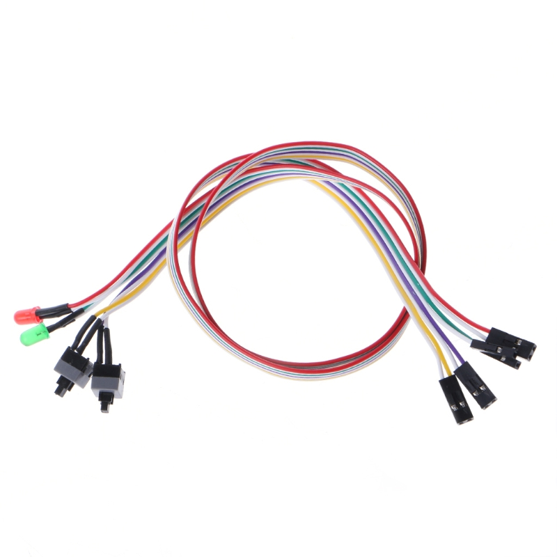 PC Case Red Green LED Lamp ATX Power Supply Reset HDD Switch Lead 20