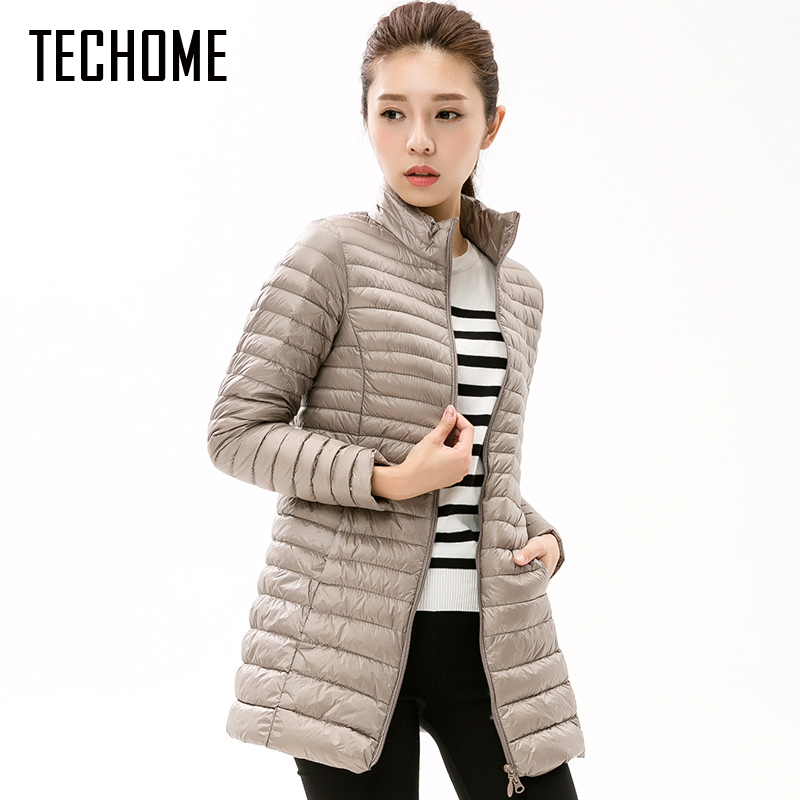 Autumn Winter Casual Coat Parkas for Women Winter Female Snow Warm Jacket Long Thin Duck Down Coat for Laides Long Sleeve Coat