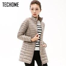 Musim gugur Musim Dingin Kasual Coat Parkas untuk Wanita Musim Dingin Perempuan Salju Hangat jaket Bebek Bawah Mantel Panjang Tipis untuk Laides Lengan Panjang Mantel
