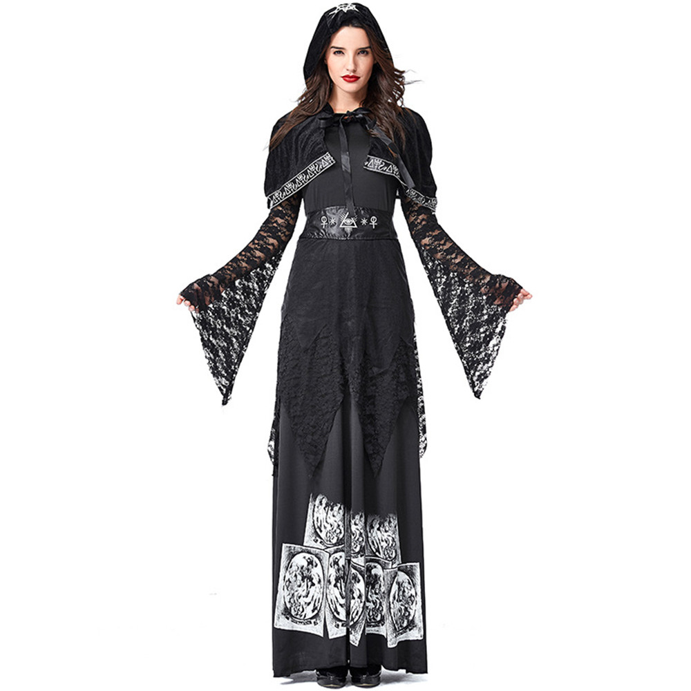 Cosplay women Medieval Retro Gothic Vampire Skeleton Print Hooded Lace Panel Dress Witch Masquerade Halloween Carnival Costume