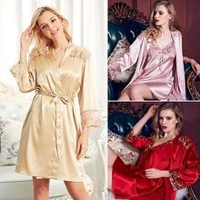 Women Sexy Imitation Silk Pajamas Robes + Sling Dress 2 Pcs Sleepwear Nightgown