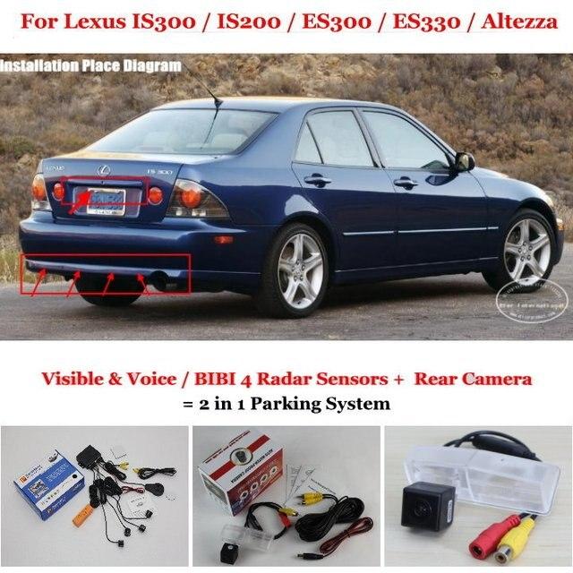Для Lexus IS200 IS300 ES300 ES330 Altezza Автомобилей Датчики Парковки + Камера Заднего вида = 2 в 1 Визуальная Сигнализация Парковка система