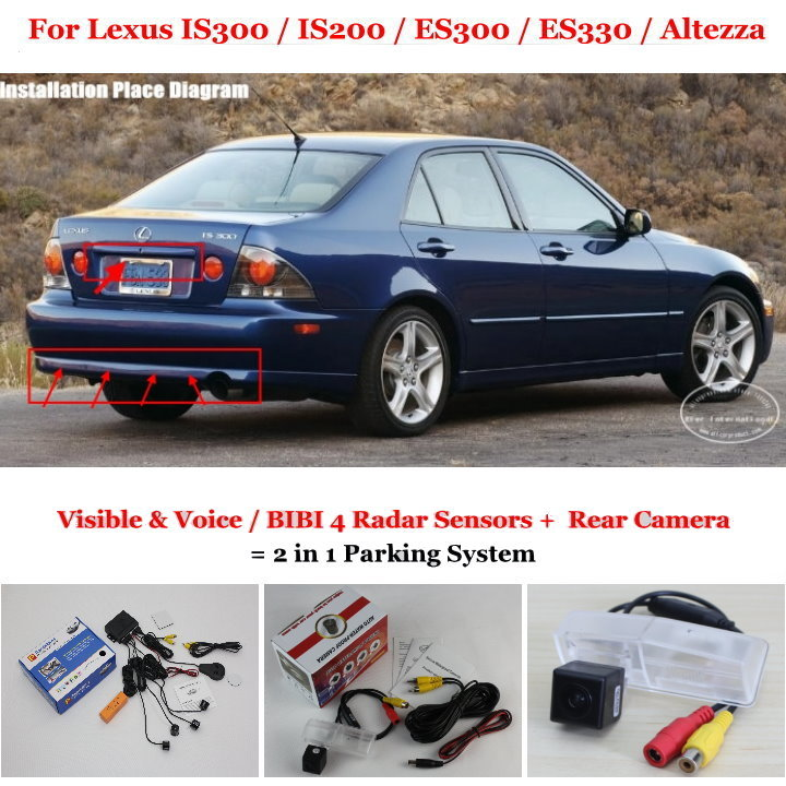 Liislee For Lexus IS300 IS200 ES300 ES330 Altezza - Car Parking Sensors + Rear View Camera = 2 in 1 Visual Alarm Parking System car parking sensors rear view camera 2 in 1 visual bibi alarm parking system for toyota land cruiser 200 2008 2014