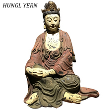46cm buddha statue chinese Handcraft ancient antique Gunan Yin Statues Lacquerware Customizable Craft