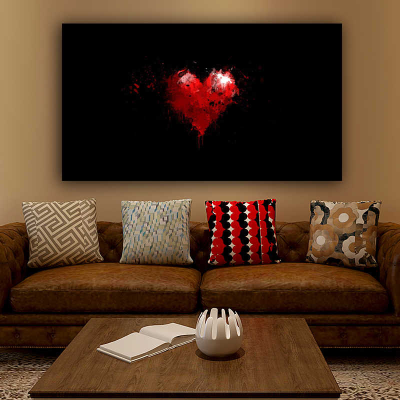 RELIABLI ART Wall Art Red Heart Black Background Minimalism Posters And Prints Canvas Painting No Frame Pictures On The Wall