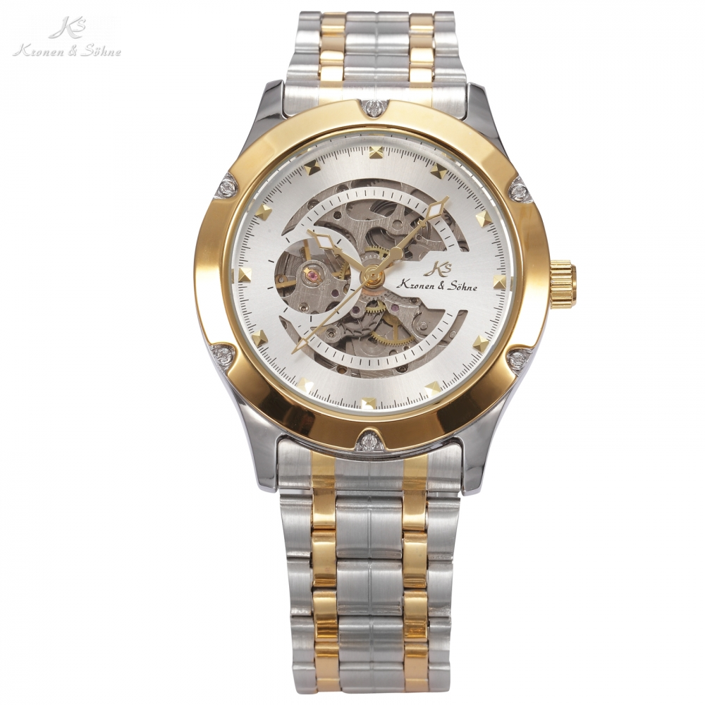 KS NAVIGATOR Series Golden Case Luxury Skeleton Transparent Case Back Men Gent Automatic Mechanical Stainless Steel Watch /KS207KS NAVIGATOR Series Golden Case Luxury Skeleton Transparent Case Back Men Gent Automatic Mechanical Stainless Steel Watch /KS207