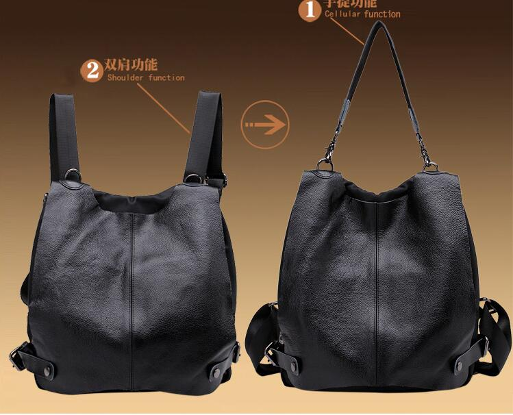 2018 female backpack genuine leather and nylon material preppy style one shoulder bag casual school bag 2018 female backpack genuine leather and nylon material preppy style one shoulder bag casual school bag