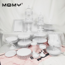 16 Pcs White Dessert Tray Iron Cake Stand WeddingProps European Table Ornaments Lace Plate