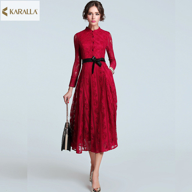 High Quality New 2016 Women Spring Runway Fashion Dress Elegant Long Sleeve Lace Designer Midi