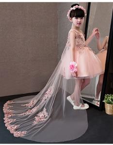 Image 4 - Flower Girl Dresses Glizt Pink Lace Appliques Girls Wedding Gown Trailing Princess Dresses Kids Costume Children Summer Clothes