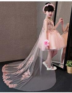 Image 4 - Çiçek Kız Elbise Glizt Pembe Dantel Aplikler Kızlar gelinlik Firar Prenses Elbiseler Çocuklar Kostüm Çocuk yaz giysileri