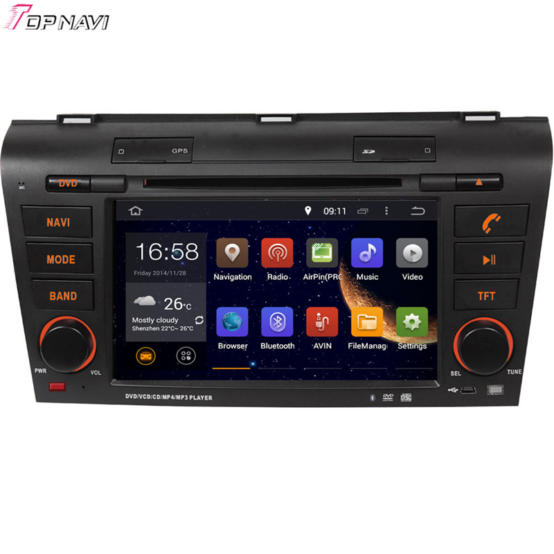 Topnavi 7'' Quad Core Android 6.0 Car DVD Play for MAZDA 3 2004 2005 2006 2007 2008 2009 Autoradio GPS Navigation Audio Stereo car for mazda 3 mazda3 2004 2005 2006 2007 2008 2009 accessories pedal brake accelerator footrest sticker manual mechanical mt