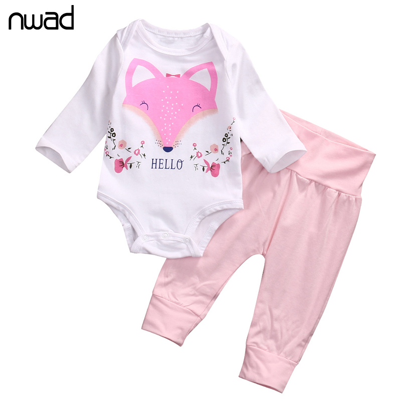 NWAD Baby Clothing Set Baby Girls Long Sleeve Cartoon Fox Printing Sweat shirts+Long Pants 2Pcs For Baby Clothes FF399