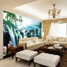 Customized mural wallpaper Chinese landscape background  behind TV sofa in the living room