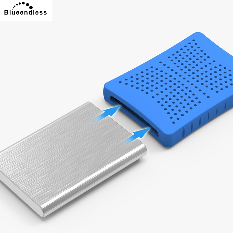 Blueendless external hard drive 2TB/1TB/750G/500G/320G with 2.5 sata hdd enclosure USB 3.0 shock resistant silicone protect case