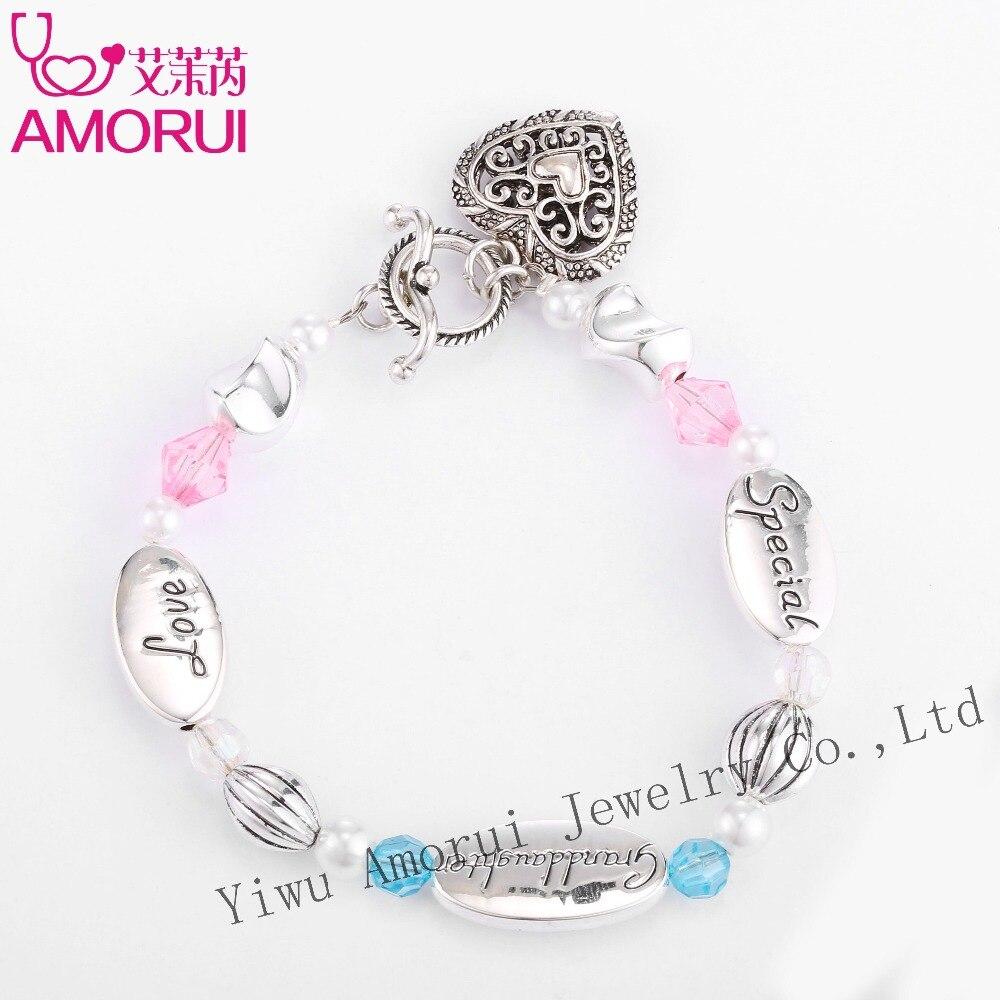 Nieta del encanto del corazón del amor de la pulsera del grano Homme Bijoux Femme rosa/azul perlas de cristal de plata pulseras de plata para el regalo de las mujeres Dropship