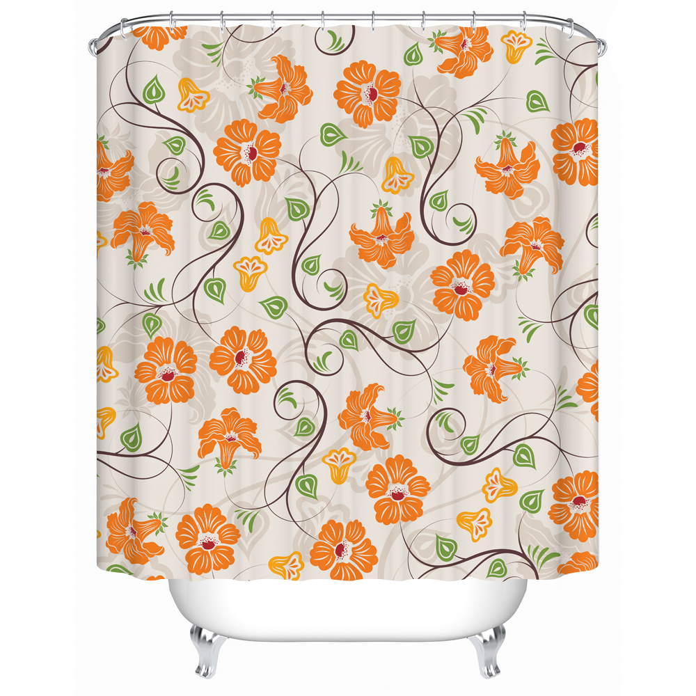 Nanaz Shower Curtains Pretty Pale Yellow Flowers Waterproof Bathroom Curtain Bath Products