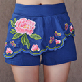 Women's spring and summer shorts women's national wind shorts female casual shorts skirts embroidered shorts vestidos