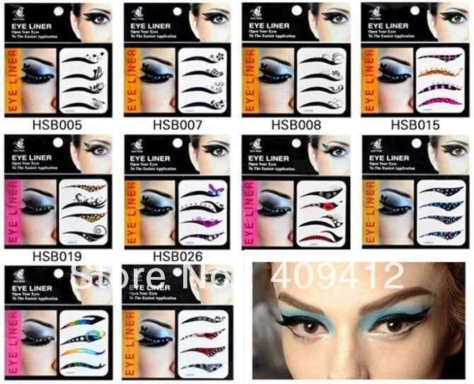 10 pack Eyeliner Tattoos Tape with 40 different styles Makeup Sticker for Making naked Eye Shadow