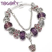 TOGORY Классический Корона браслет с подвеской с фиолетовыми муранскими стеклянными бусинами тонкие браслеты браслет для женщин любовник модный подарок