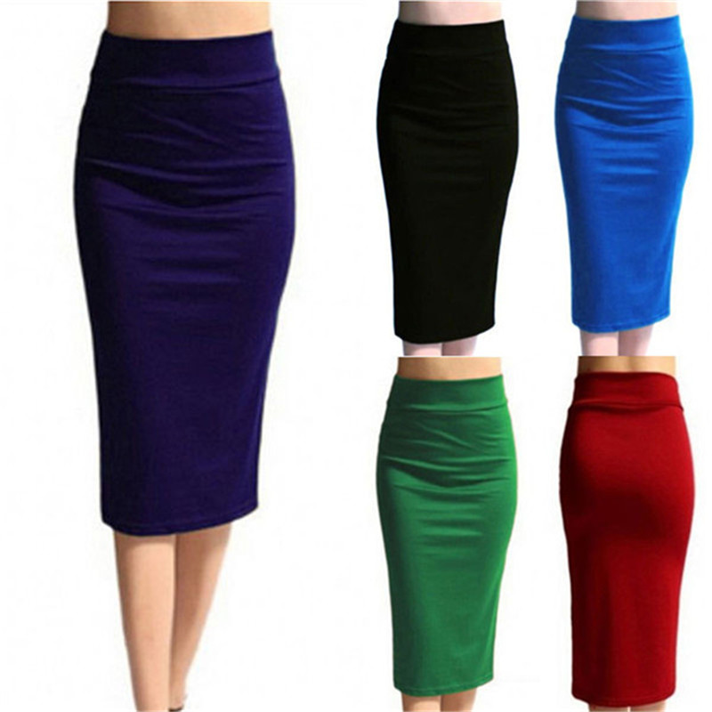 2019 New Skirts Womens Mini Bodycon Skirt Office Women Slim Knee Length High Waist Stretch Sexy Pencil Skirts Jupe Femme