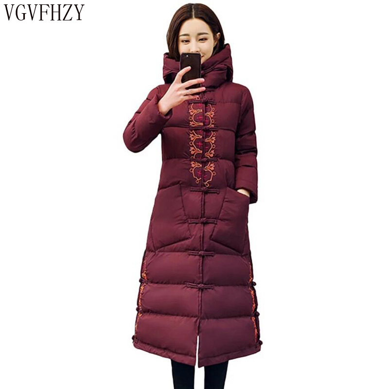 2018 Winter Women   Down   Jacket   Coat   long Fashion Thicken Warm Outerwear High Quality Hooded   down     Coats   Female Vintage Parkas