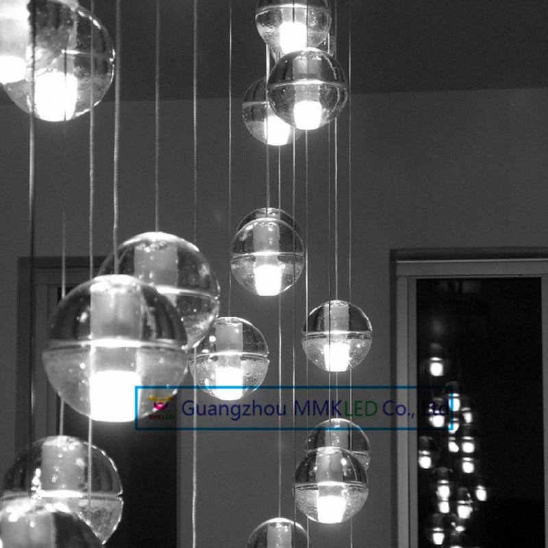 Creative restaurant lighting lamps led meteor shower crystal ball chandelier lamp modern stair light bar