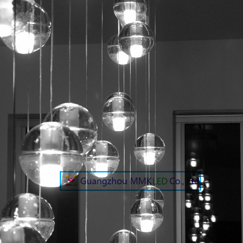 Creative restaurant lighting lamps led meteor shower crystal ball chandelier lamp modern stair light bar z best price led downlight droplight double ball stair crystalline light creative bar hotel led crystal chandelier parts